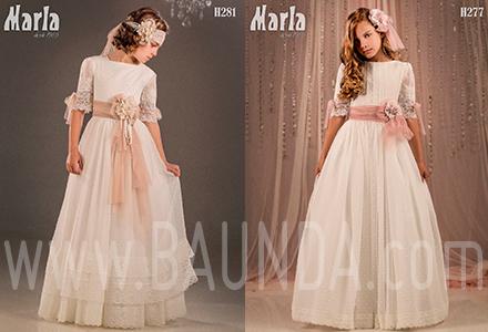 Vestidos de comunión manga francesa plumeti Marla 2018