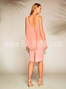 Vestido corto rosa palo Baunda 1801 espalda