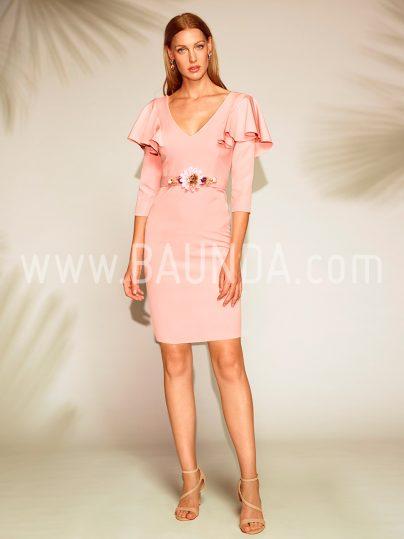 Vestido corto con mangas rosa palo 2018 Baunda 1805