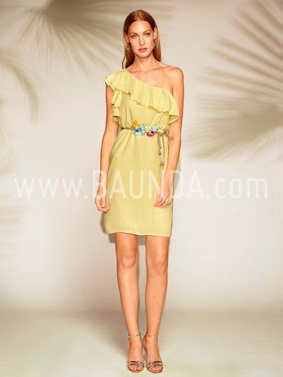 Vestido corto asimétrico amarillo 2018 Baunda 1806