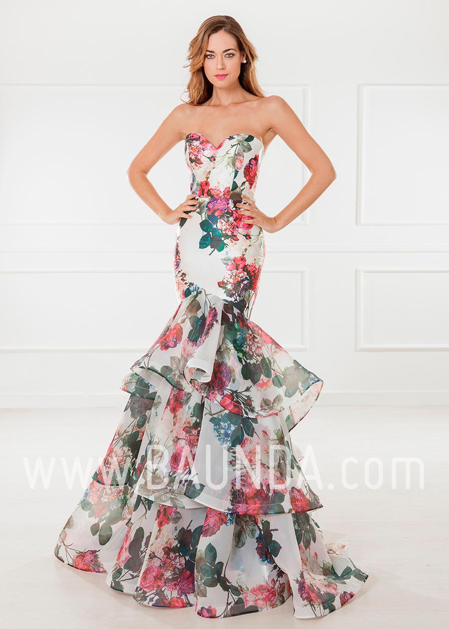 c9fe41fb6 Vestido de fiesta largo 2018 XM 4808 estampado en Baunda Madrid y tienda  online