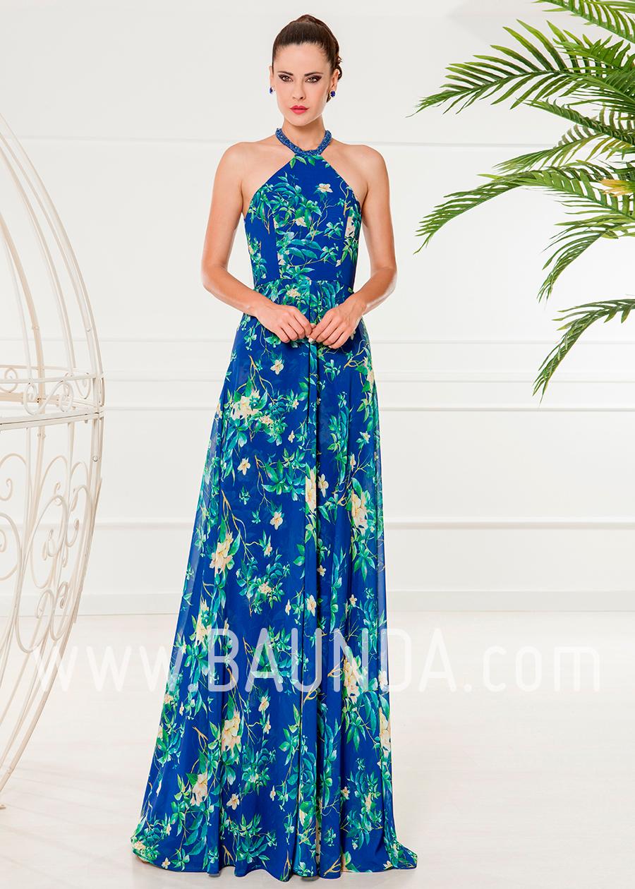 df6d61f62 Vestido largo estampado 2018 XM 4836 azulón en Baunda Madrid y tienda online