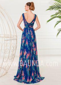 Vestido de fiesta estampado largo 2018 XM 4838 azulón espalda
