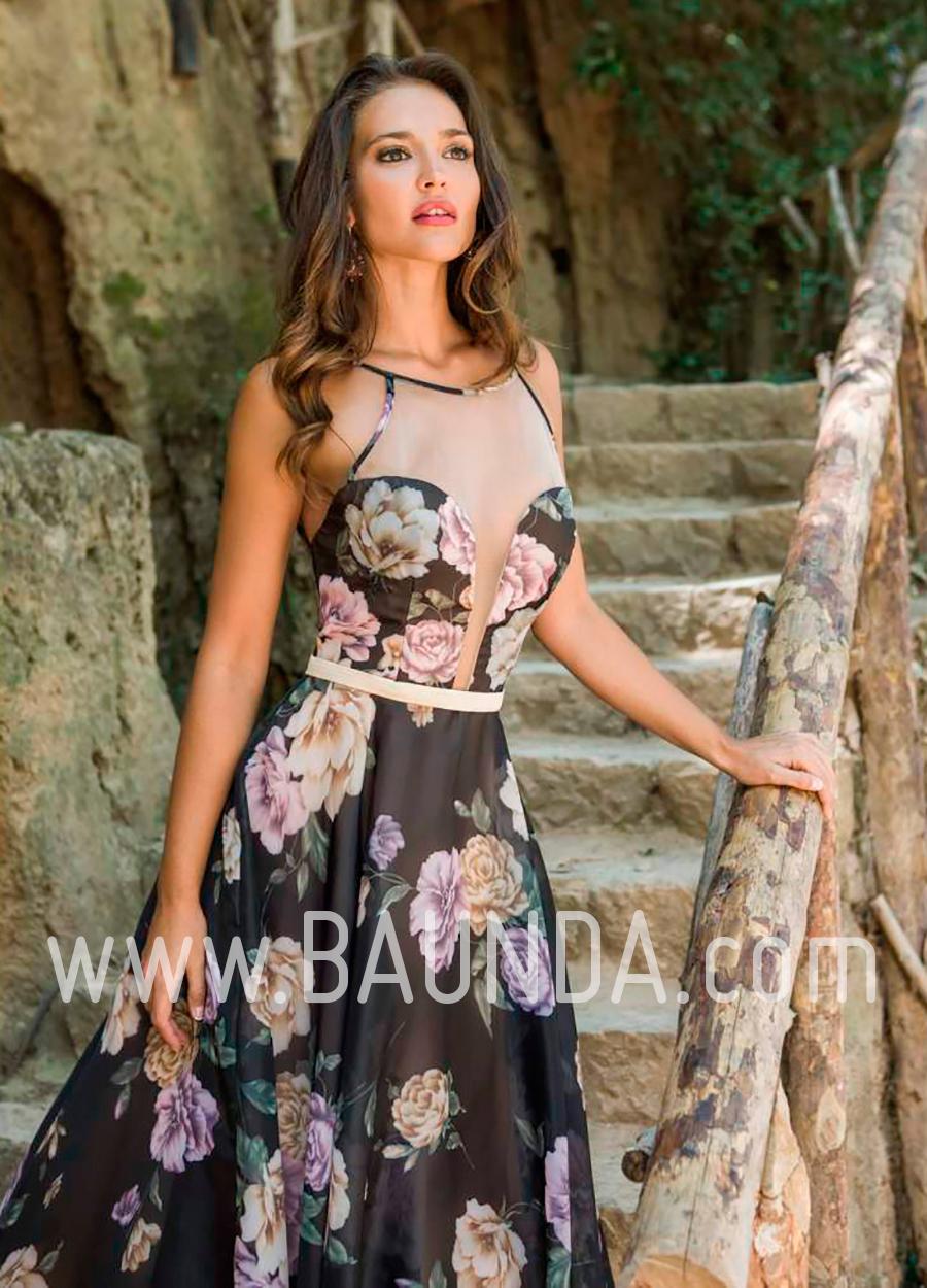 0023a2702 Vestido largo negro estampado 2018 XM 4841 en Baunda Madrid y tienda online  detalle 2