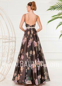 Vestido largo negro estampado 2018 XM 4841 espalda