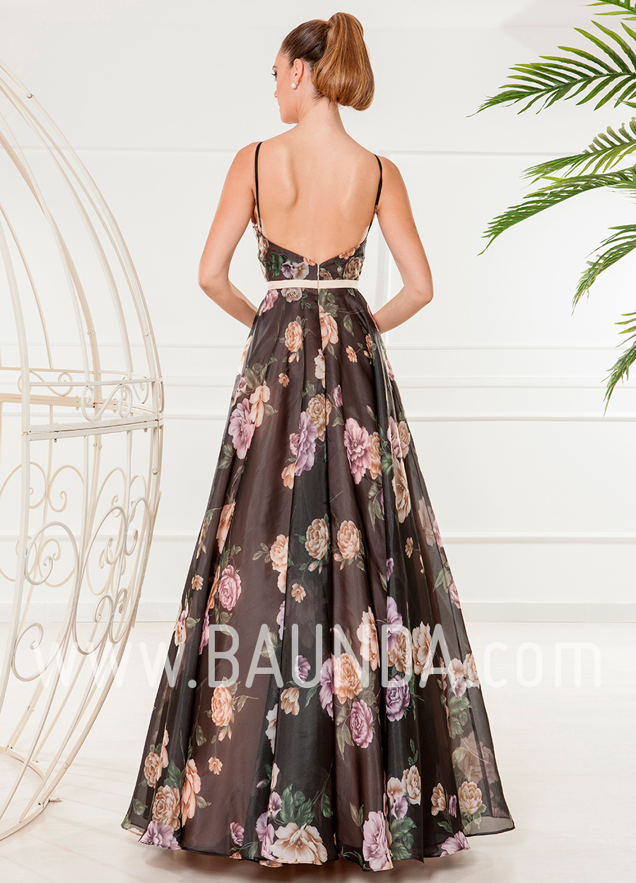 dc07aa662 Baunda Vestido largo negro estampado 2018 XM 4841 espalda - Baunda
