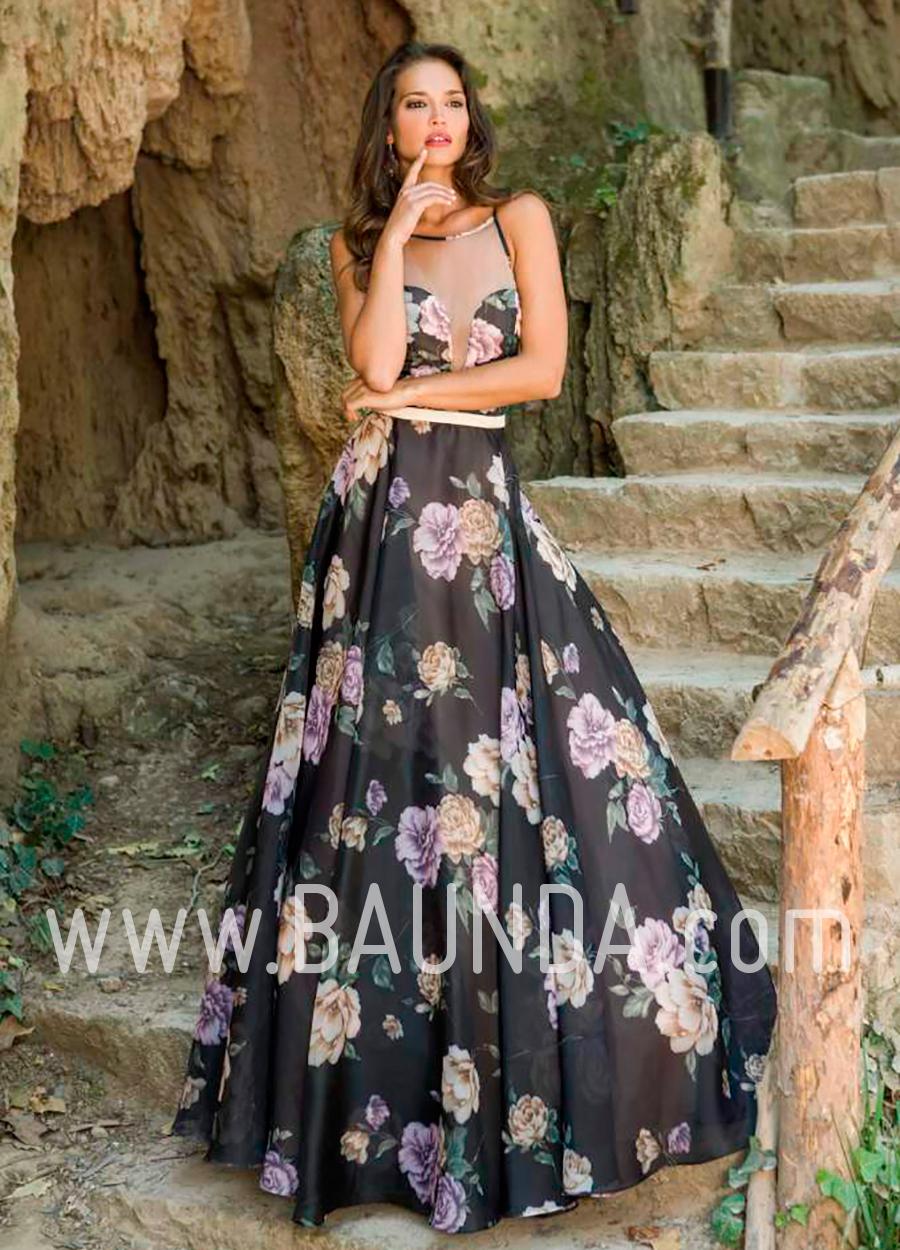 2900278f7 Vestido largo negro estampado 2018 XM 4841 en Baunda Madrid y tienda online