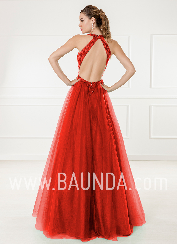 Productos muchas opciones de nuevas variedades Baunda Vestido largo de tul rojo 2018 XM 4865 espalda - Baunda