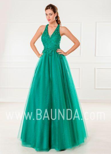 Vestido largo de tul verde 2018 XM 4865