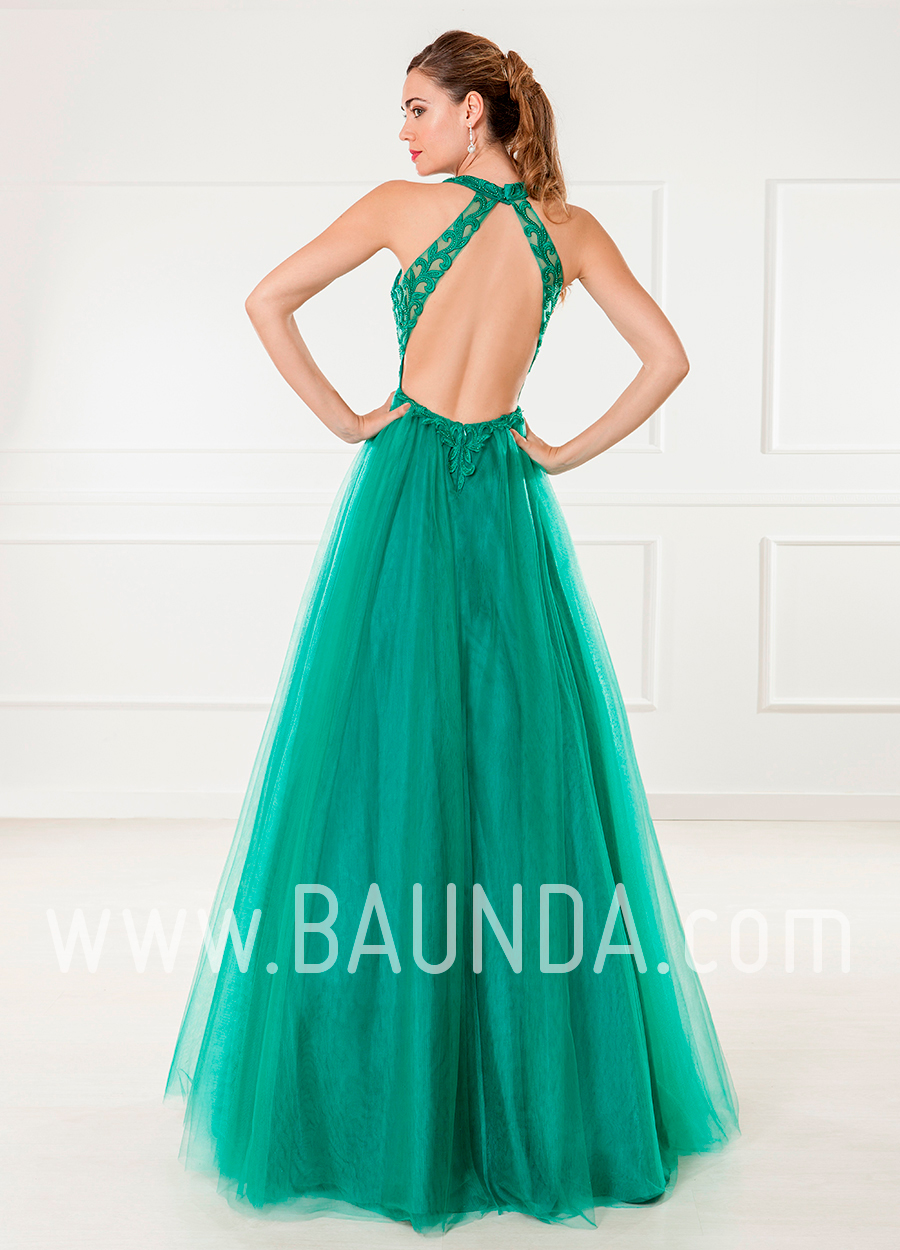 Baunda Vestido largo de tul verde 2018 XM 4865 en Baunda Madrid y ...