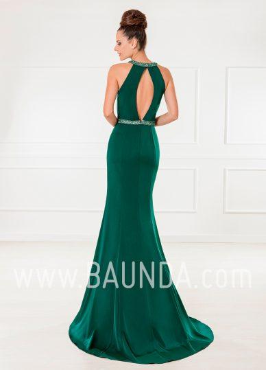 Vestido largo sirena verde 2018 XM 4870 espalda