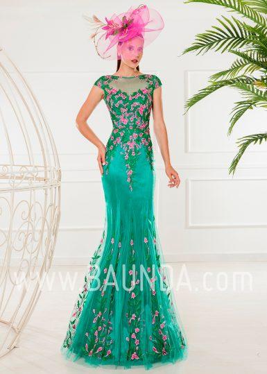 Vestido de madrina 2018 XM 4871 verde y fucsia