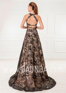 Vestido de fiesta largo negro y champán 2018 XM 4884 espalda
