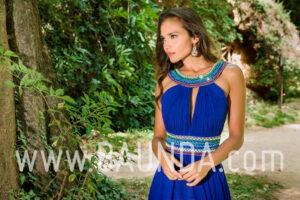 Vestido largo azulón 2018 XM 4886 detalle
