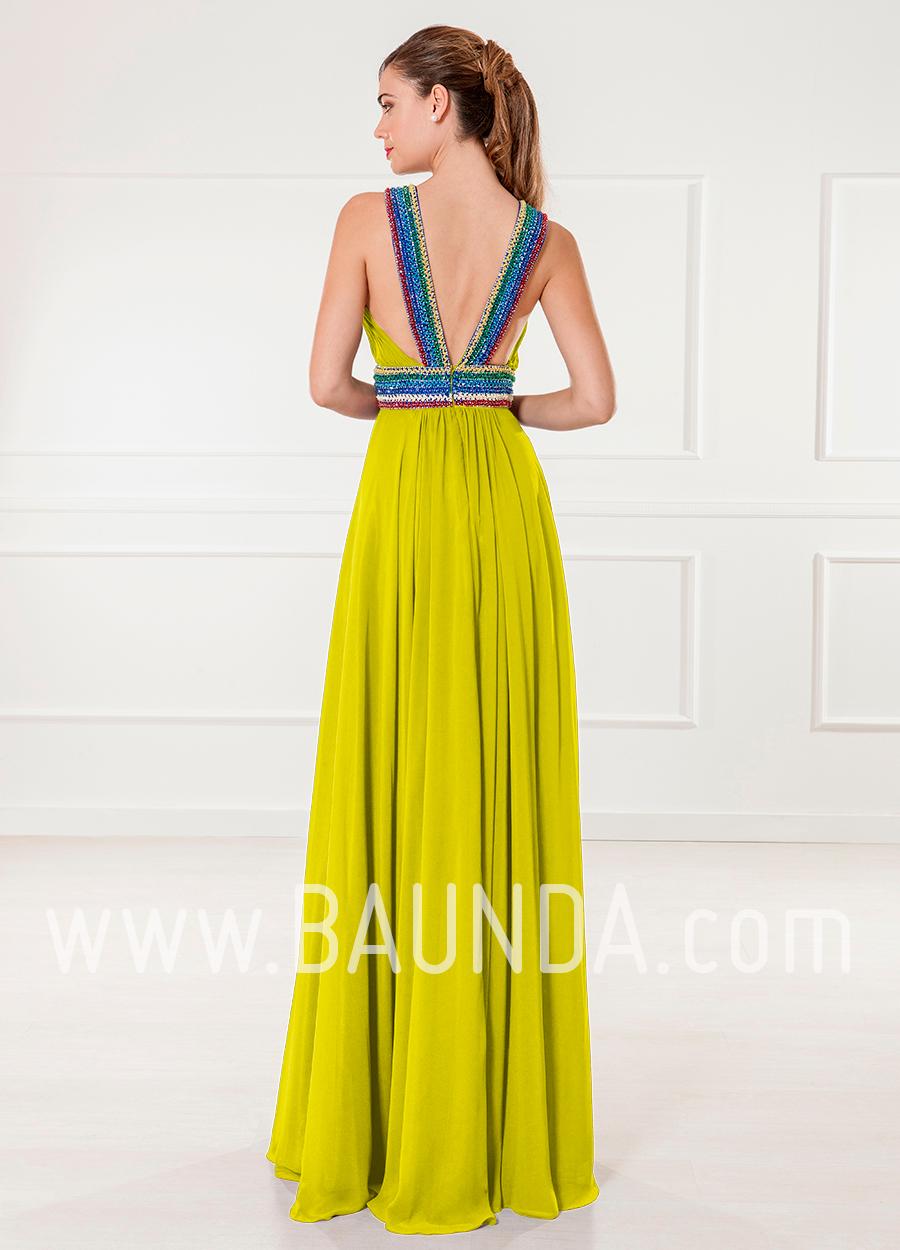 Vestido largo amarillo 2018 XM 4886 espalda