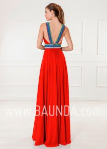 Vestido largo rojo 2018 XM 4886 espalda