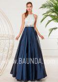 Vestido hermana novia 2018 XM 4910 marino y plata