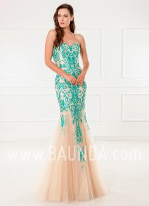 Evening dress mint and gold 2018 XM 4911
