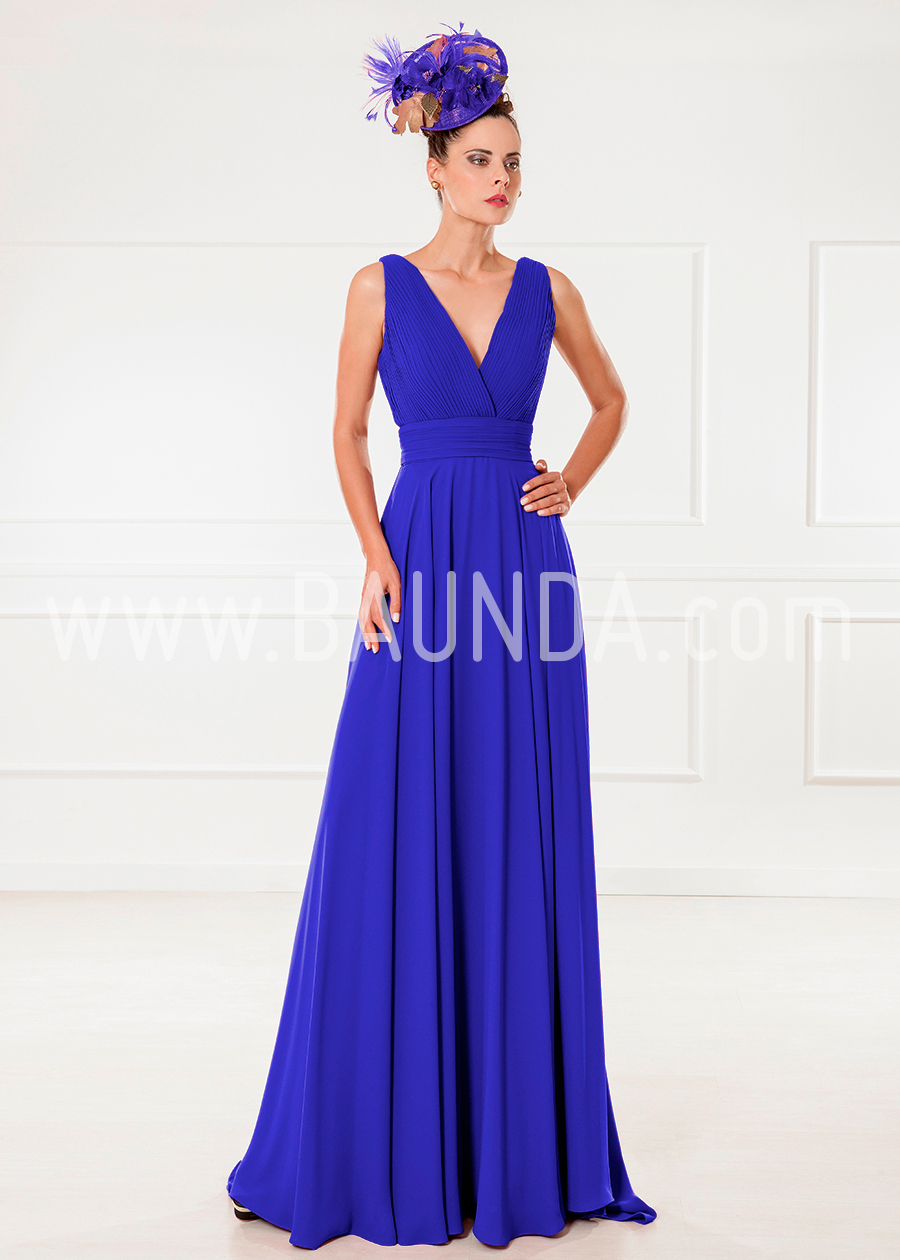 Baunda Vestido largo liso azulón 2018 XM 9850 en Baunda Madrid y online