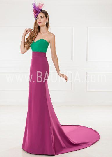 Vestido de fiesta bicolor 2018 XM 9891 verde y morado