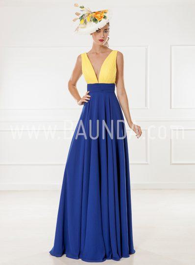 Vestido bicolor 2018 XM 9898 amarillo y azulón