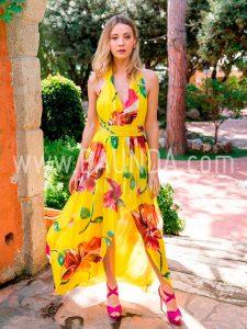 Vestido amarillo para boda Baunda 2018 modelo 1854