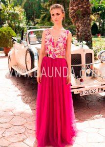 Vestido de tul fucsia para boda Baunda 2018 modelo 1855