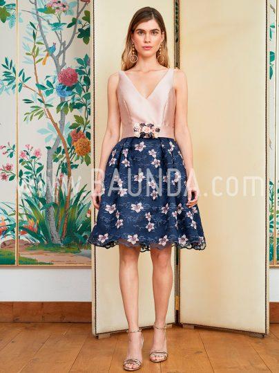 Vestido corto rosa y marino 2018 Baunda 1811