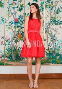 Vestido sencillo coral 2018 Baunda 1814