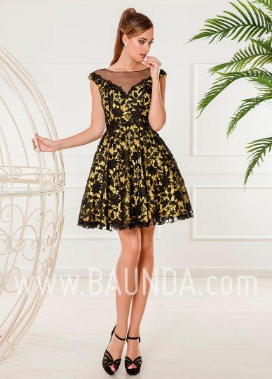Vestido corto xm 2018 Baunda 4872 amarillo y negro