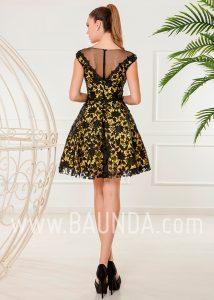 2d335d0c2 Vestido corto xm 2018 Baunda 4872 amarillo y negro espalda