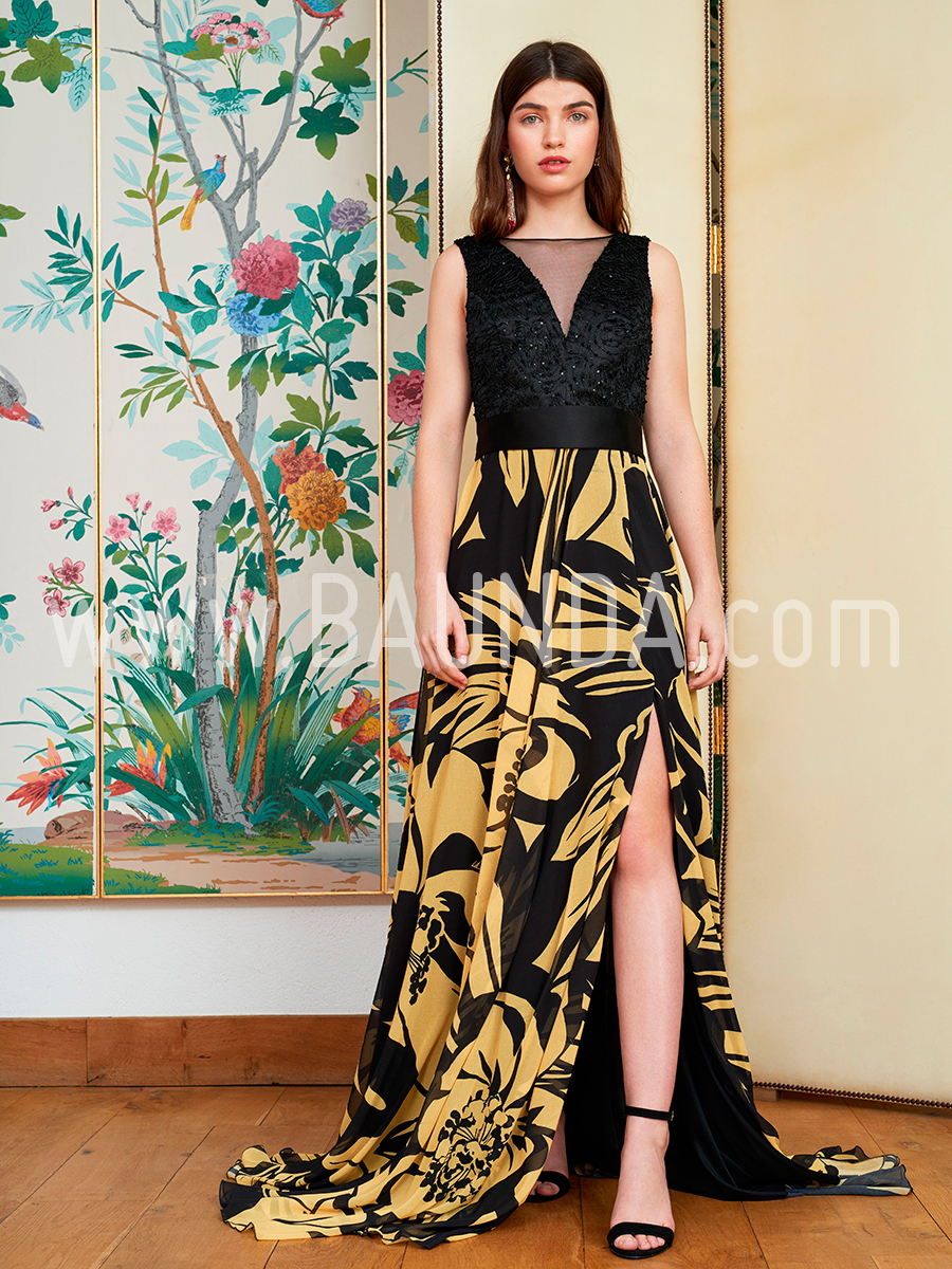Vestido De Fiesta Largo 2018 Baunda 1862 Negro Amarillo Baunda