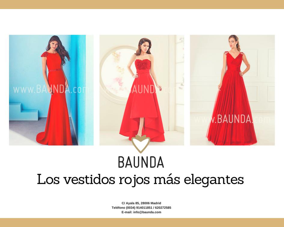 Vestidos elegantes y rojos en baunda madrid y tienda on line