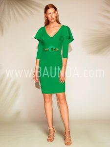Vestido corto con mangas verde 2018 Baunda 1805