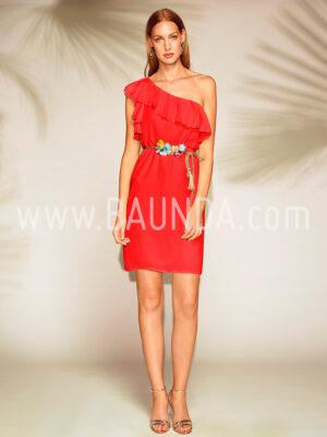 Vestido corto asimétrico rojo 2018 Baunda 1818