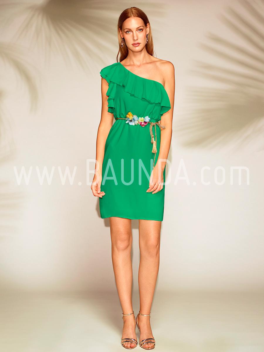 Vestido corto asimétrico verde 2018 Baunda 1819