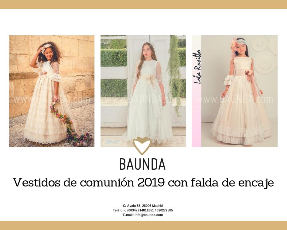 Vestidos comunión falda de encaje tienda Madrid on line