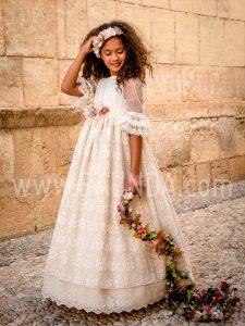 Vestido de comunión bohemio Loida 2019 modelo 115 en Madrid
