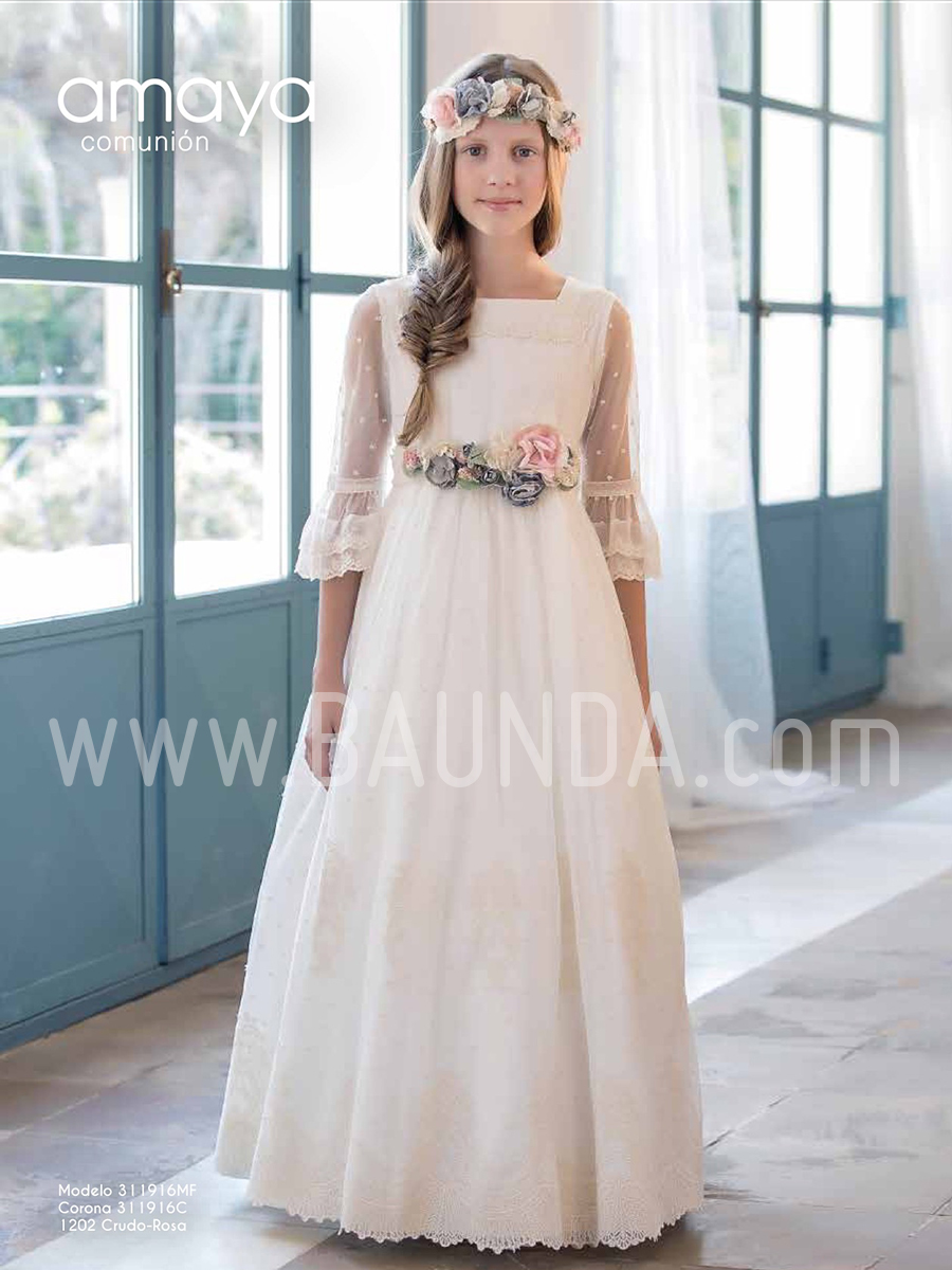 Vestido comunion nina plumeti