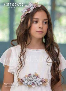 Vestido comunión estiloso Amaya 2019 modelo 922 detalle en Madrid