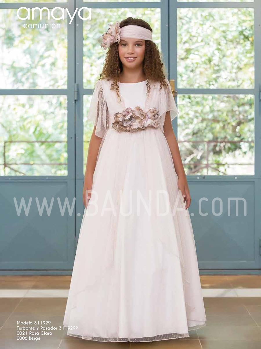 c612ecca130 Baunda Vestido comunión tul rosa Amaya 2019 modelo 929 Madrid y ...