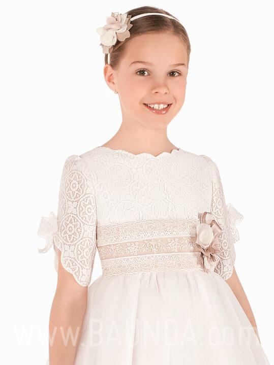 Vestido comunión cuello ondas 2019 Elisabeth modelo 418 cuerpo