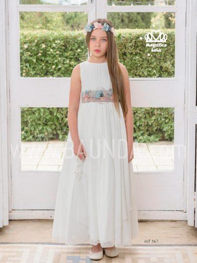 Vestido de comunión liso Magnífica Lulú 2019 modelo 567 en Madrid