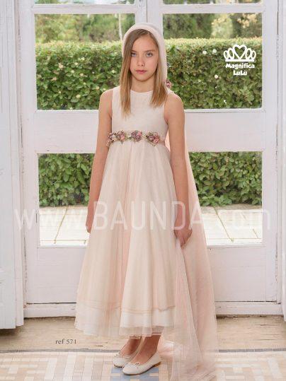Vestido comunión rosa palo Magnífica Lulú 2019 modelo 571 en Madrid