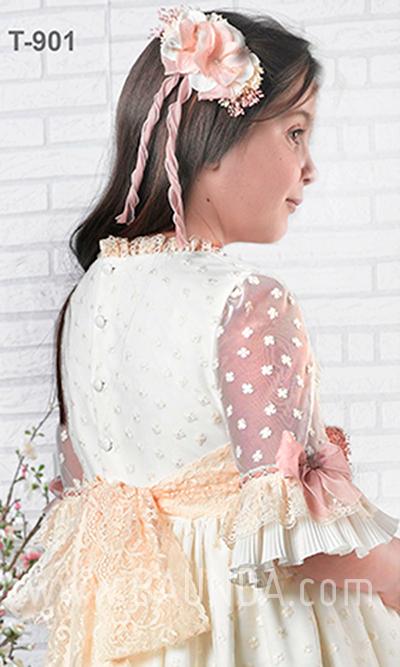Vestido comunión Montserrat Lozano 2019 modelo 1901 espalda