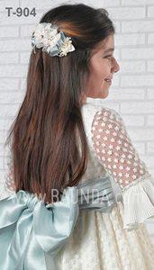 Vestido comunión fajín azul Montserrat Lozano 2019 modelo 1904 espalda en Madrid