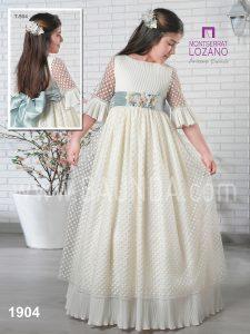 Vestido comunión fajín azul Montserrat Lozano 2019 modelo 1904 en Madrid