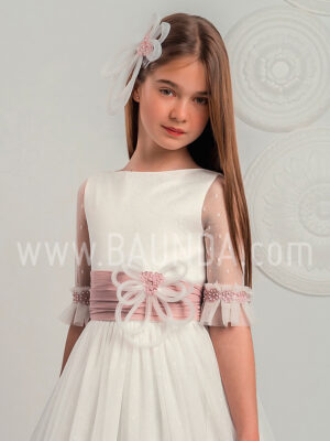 Vestido comunión fajín rosa Lola Rosillo 2019 modelo Q255 cuerpo