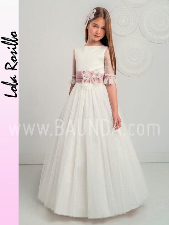 Vestido comunión fajín rosa Lola Rosillo 2019 modelo Q255 en Madrid