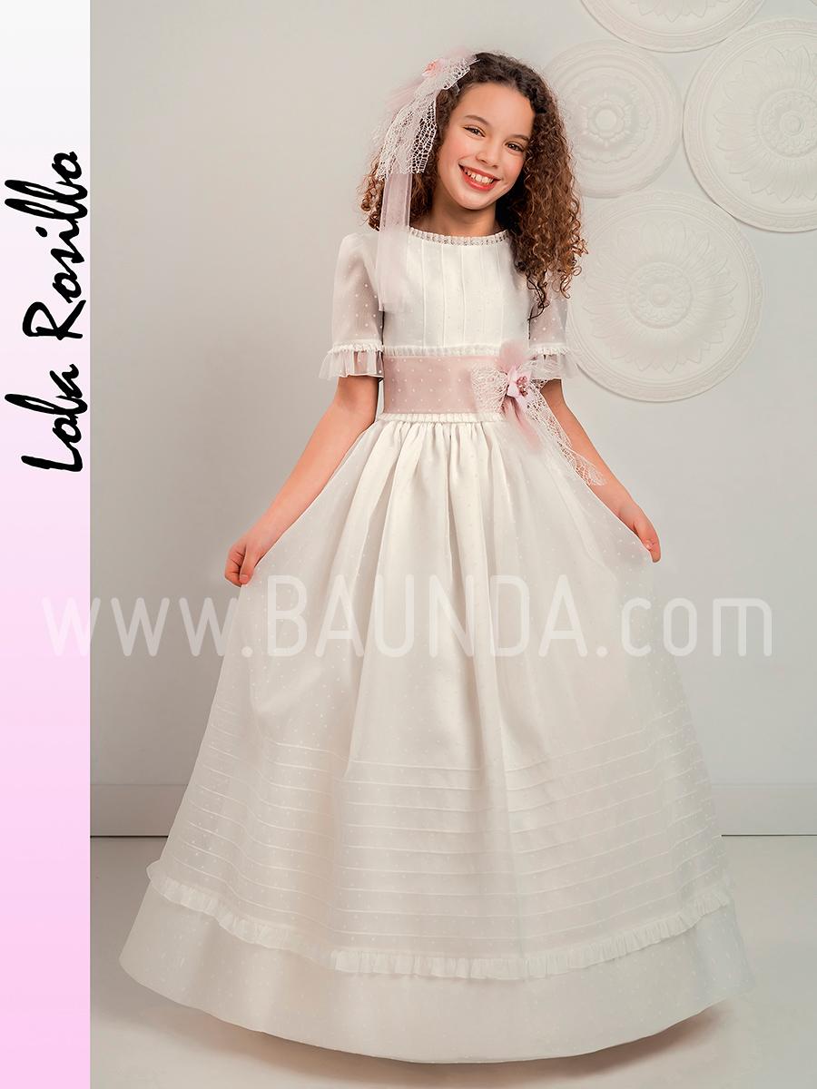 Baunda Vestido comunión manga al codo Lola Rosillo 2019 modelo Q300 ... 485969787f18